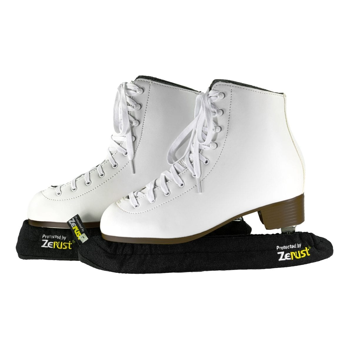 A pair of skates using ice skate blade covers.