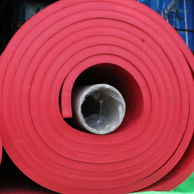 A roll of Wenco USA's red rubber lining.