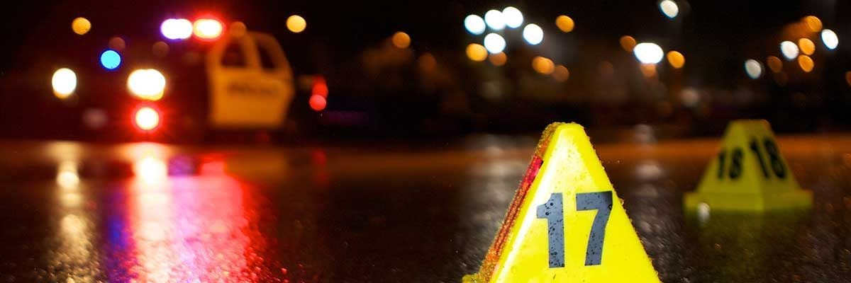 A police car and numbered markers at a DUI checkpoint. OVI / DUI lawyer Brunswick Ohio.