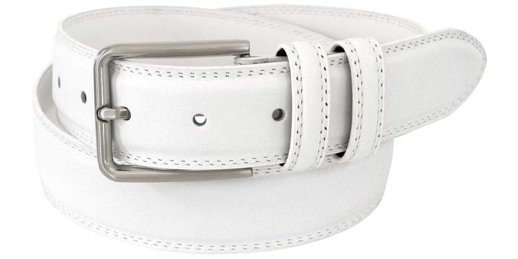 mens white leather belts