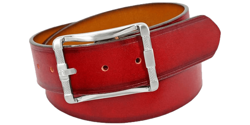 Mens Red Leather Belt | Status Leather Goods