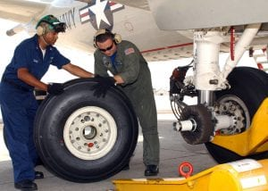 aircraft wheels and military technicians