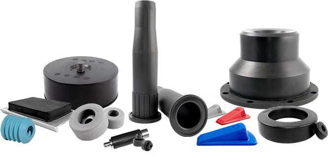 A miscellaneous set of Qualiform's custom rubber products